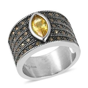 Jewelry - Yellow CZ STAINLESS STEEL RING